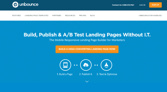 unbounce AB Testing Tool Screenshot