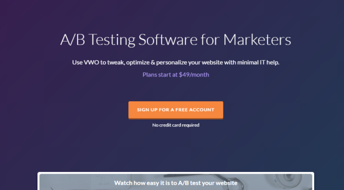 VWO AB Testing Tool Screenshot