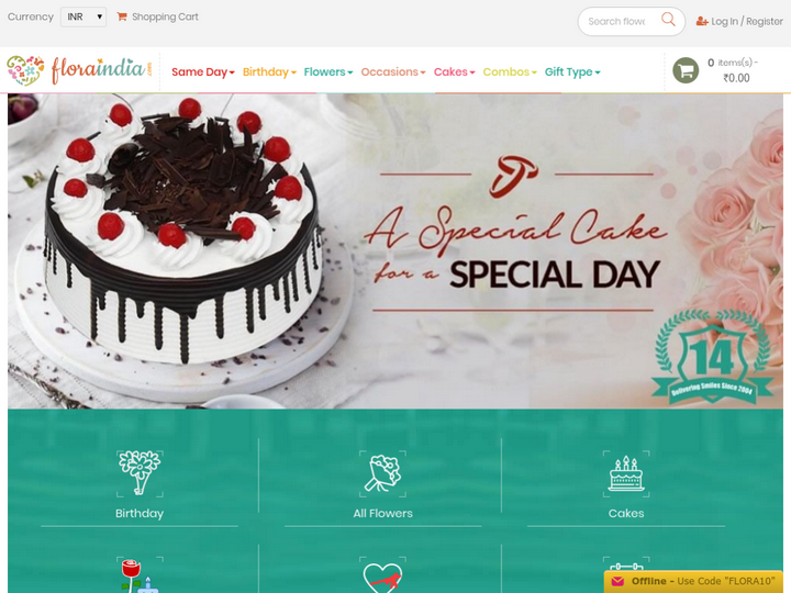 Floraindia: Online Flowers and Cakes Delivery India on 10Hostings