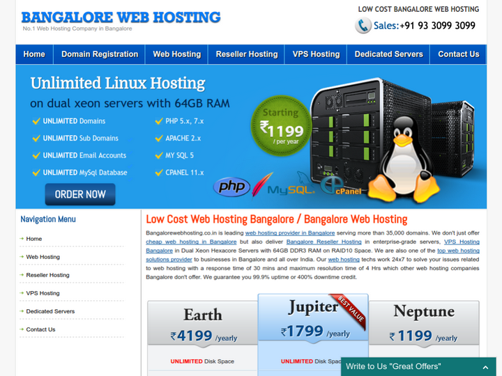 Bangalore Web Hosting on 10Hostings