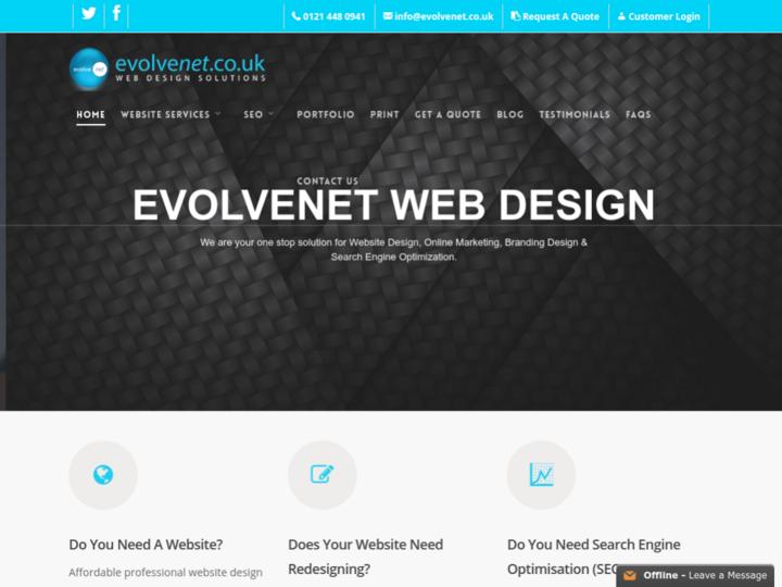 Evolvenet WebDesign Birmingham on 10Hostings